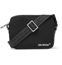 Off White Leather Trimmed Logo Print Shell Camera Bag Black