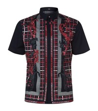 Versus By Versace Baroque Check Casual Shirt Male Black