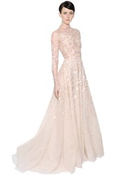 Zuhair Murad Floral Embellished Tulle Gown