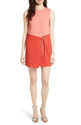 Ted Baker Women's London Mivis Colorblock Crossover Front Tunic Dress Pink