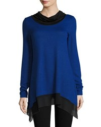 P. Luca Contrast Trim Cowl Neck Tunic Blue Black