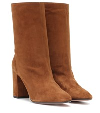 Aquazzura Boogie 85 Suede Ankle Boots Brown
