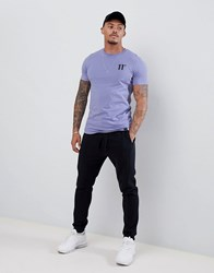 11 Degrees Muscle Fit T Shirt In Purple With Logo