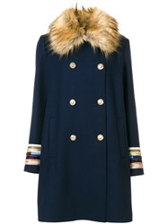 Bazar Deluxe Faux Fur Collar Coat Women Polyamide Wool 40 Blue