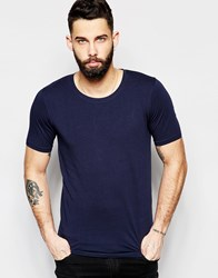 Only And Sons Muscle Fit Crew Neck T Shirt Navy Blue