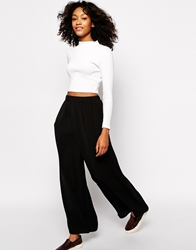 Monki Wrap Front Wide Leg Trousers Black
