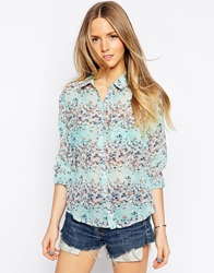 Brave Soul Ditsy Floral Long Sleeve Shirt Mint