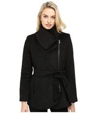 Jessica Simpson Brushed Wool Touch Coat W Asymmetrical Zip Black Women's Coat