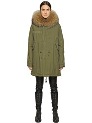 Mrandmrs Italy Cotton Canvas Parka With Murmansky Fur
