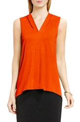 Vince Camuto Women's Sleeveless V Neck Top Vivid Flame