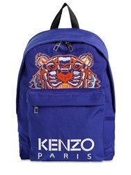 Kenzo Tiger Embroidered Techno Canvas Backpack Blue