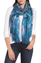 Nordstrom Women's Modern Peacock Silk And Cashmere Scarf Teal Combo