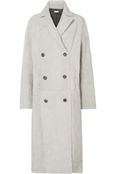 Utzon Reversible Double Breasted Shearling Coat Light Gray