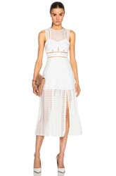 Self Portrait Pleated Check Midi Dress In White Checkered And Plaid