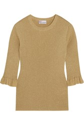 Red Valentino Redvalentino Metallic Ribbed Knit Sweater Gold
