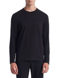 Saks Fifth Avenue Collection Mixed Media Crewneck Sweater Black