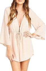 Show Me Your Mumu Women's Roxy Plunging Tie Waist Romper Dusty Blush Crisp