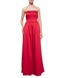 Shoshanna Strapless Beaded Neck Ball Gown Scarlett