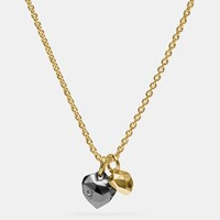 Coach Faceted Heart Charm Necklace Gold Black