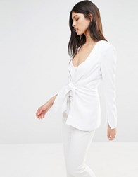 Bec And Bridge Phoenix Tie Front Blazer White