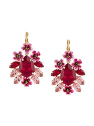 Dolce And Gabbana Crystal Embellished Pendant Earrings Pink And Purple