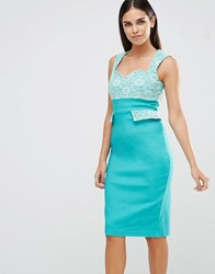 Vesper Pencil Dress With Lace Top And Pocket Detail Green