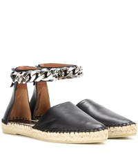 Givenchy Capri Chain Leather Espadrilles Black