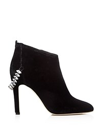 Sarah Jessica Parker Sjp By Balcony Crystal Embellished Velvet High Heel Booties Superior Black