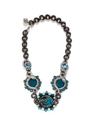 Lanvin 'Lucrezia' Glass Stone Pewter Collar Necklace Blue Metallic