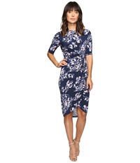 Ivanka Trump Printed Matte Jersey Knot Dress With Sleeves Navy Lilac Women's Dress