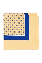 Burma Bibas Neat Printed Silk Pocket Square Yellow