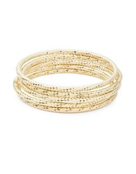 Design Lab Lord And Taylor Five Row Textured Bangle Bracelet Gold