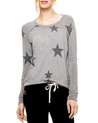 Sundry Star Print Pullover Heather Grey