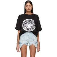 Balmain Black Flocked Medallion T Shirt