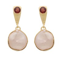 Carousel Jewels Natural Pearl And Garnet Drop Earrings Red Gold Neutrals