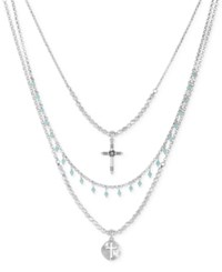 Lucky Brand Silver Tone Double Cross And Stone Layer Pendant Necklace