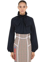 Stella Jean Tech Nylon Shirt With Bow Navy