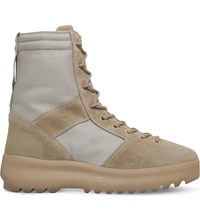 Yeezy Leather And Nylon Military Boots Beige