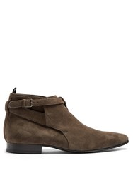 Saint Laurent London Short Suede Boot Light Brown