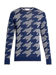 Stella Mccartney Hound's Tooth Crew Neck Sweater Blue