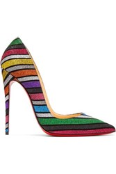 Christian Louboutin So Kate 120 Striped Glittered Suede Pumps Metallic