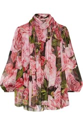 Dolce And Gabbana Pussy Bow Floral Print Silk Chiffon Blouse Pink