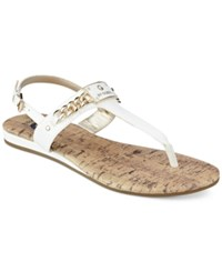 G By Guess Jossy T Strap Demi Wedge Sandals Women's Shoes White Patent
