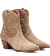 Saint Laurent Rock 40 Suede Ankle Boots Brown