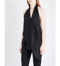 Victoria Beckham Backless Wrap Around Silk Top Black