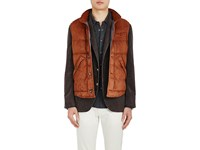 Brunello Cucinelli Men's Suede Puffer Vest Dark Orange Orange