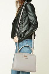 Forever 21 Faux Leather Satchel Grey