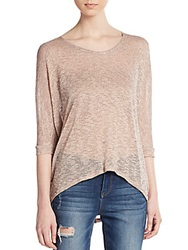 Saks Fifth Avenue Red Marled Hi Lo Sweater Blushed Peach