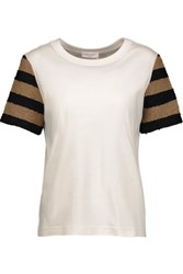 Sonia Rykiel Paneled Striped Cotton Blend Boucle And Cotton Jersey Top Off White
