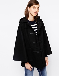 Gloverall Cape Coat In Wool With Tartan Lining Black